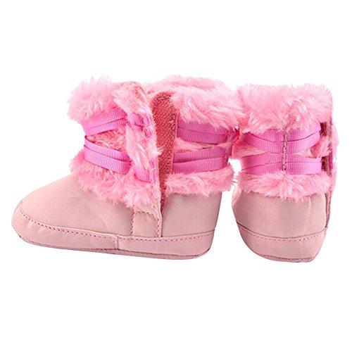 Highdas Invierno Los Bebés Recién Nacidos Bowknot Suave Cuna Zapatos Infantiles Calientes Zapatos paño Grueso Suave Primer Caminante Rosado