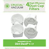 4 Dirt Devil Style F17 Dust Cup Filters; Compare to Dirt Devil Part Nos. 3DN0980000, 3-DN0980-000; Designed & Engineered by Think Crucial
