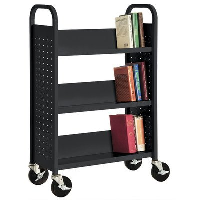 Sandusky Lee SL330-09 Single Sided Sloped Shelf Book Truck, 14