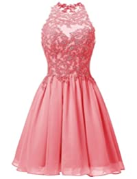 Cdress Appliques Bodice Short Chiffon Homecoming Dresses Backless Prom Formal Gowns