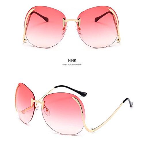 Hukai Unisex Rimless Oversize Vintage Retro Butterfly Upside Down Lens Sunglasses Hot - Sunglasses Pink Mirrored Hot