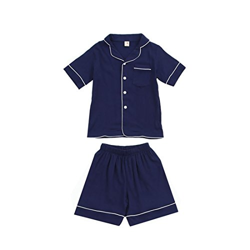 - PAUBOLI Short Sleeve Pajama Set Cotton Slub Button Down Pajamas Top + Boxer Short for Kids 2-14 Years (2-3 Years, Navy)