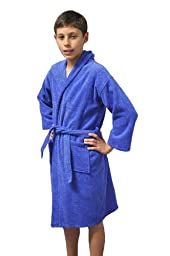 Kids Hooded Terry Velour Turkish Robe Bathrobe 100% Cotton, Royal Blue, Large, Age: 7-11