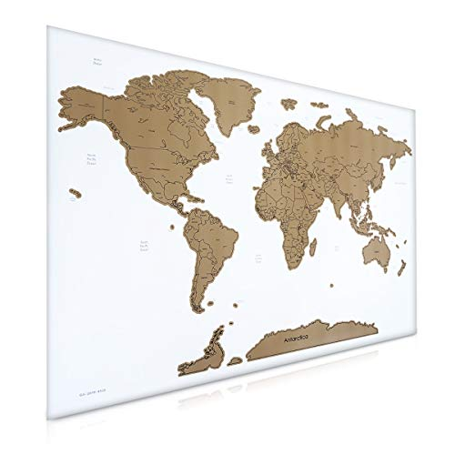 Navaris Scratch Off World Map - Large Wall Poster Art to Track Countries Traveled To and Plan Future Travels - 32 x 23 in - Includes Scraper - White