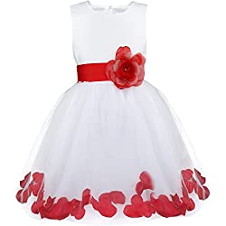 iiniim Girls Petals Tulle Princess Wedding Pageant Party Flower Girl Dress White Red 8