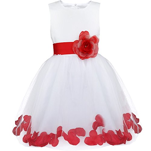 iiniim Girls Petals Tulle Princess Wedding Pageant Party Flower Girl Dress White Red -