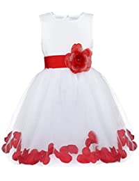 Girls Petals Tulle Princess Wedding Pageant Party Flower Girl Dress