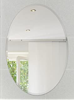 Fab Glass And Mirror Oval Beveled Polish Frameless Wall With Hooks 24 L
