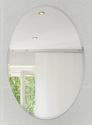 Fab Glass And Mirror 24 L X 36 W Oval Beveled Polish Hooks Frameless Wall Mirror 24 X 36 White