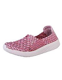 Jesper Women Trendy News Woven Flat Slip-Ons Casual Lightweight Platform Beach Fashion Running Shoes