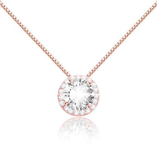 CAT EYE JEWELS Diamond Sterling Silver Pendant Necklace Round Clear AAA Cubic Zirconia Jewelry for Women Girl Rose Gold