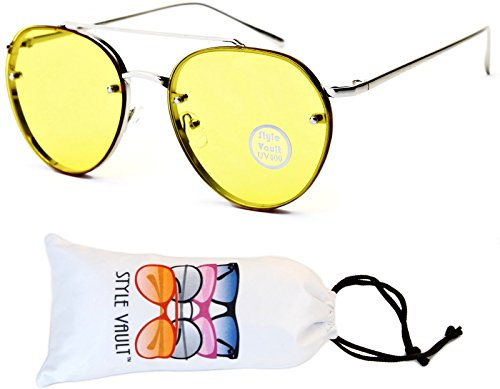 A67-vp Aviator Pilot Colored Lens Metal Sunglasses (S3240V Silver-Yellow, UV400) (Metal Sunglasses Pilot)