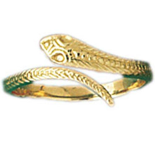 (14K Yellow Gold Snake Ring)