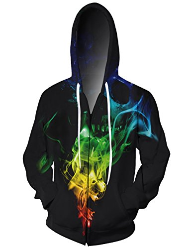 (UNIFACO Unisex 3D Full Zip Hoodie Skull Pullover Hoodie Sweatshirt Jacket with Pockets L)