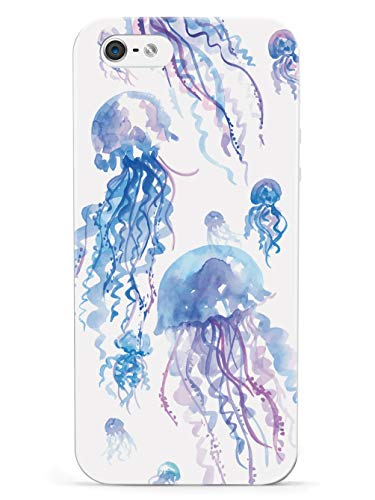 Inspired Cases - 3D Textured iPhone 5/5s/SE Case - Rubber Bumper Cover - Protective Phone Case for Apple iPhone 5/5s/SE - Watercolor Jellyfish - White