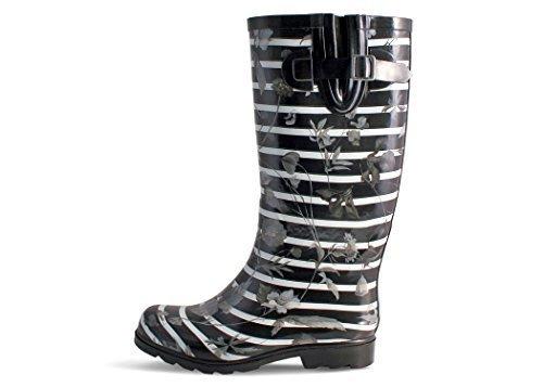 Nomad Women's Puddles Rain Boot B078QLGP2W 10 B(M) US|Black Stripes With Poppies