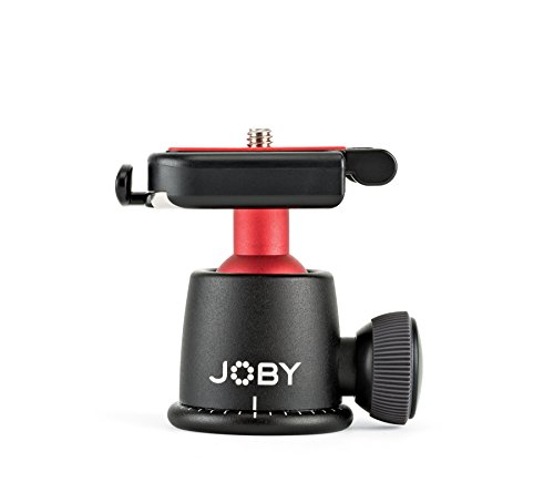 (JOBY BallHead 3K. Quick Release Tripod Ball Head for DSLR and Mirrorless Cameras up to 3Kg. Black/Red.)