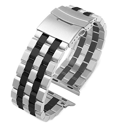 (Fashion Two Tone Design Silver-Black Stainless Steel Watch Band Compatible for Apple 42mm/44mm Silver Matte Metal Watch Strap Replacement Wristband for iWatch Series 4, Series 3, Series 2, Series 1)