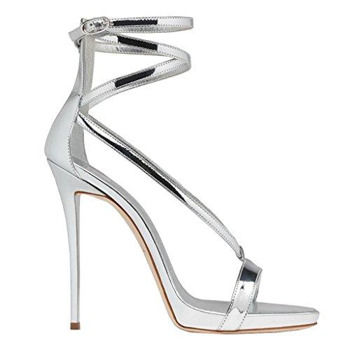 Women's Open-Toed Fine-Heeled Sandals Girls Fashion Party Heels,Silver,36