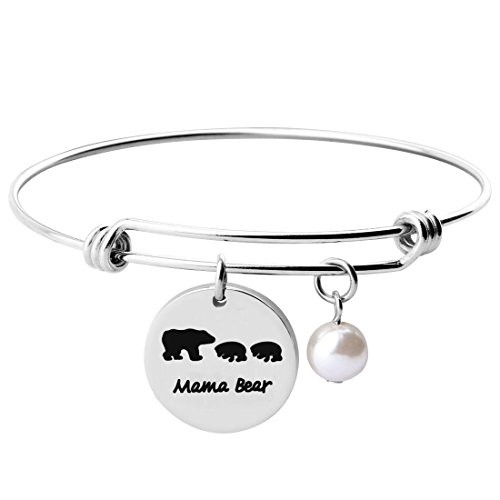 Mama and Baby Bear Expandable Bracelet Bangle Gift for Mothers (Bracelet 2 Cubs) ()