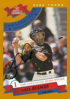 A 2003 Baseball Glove - Brad Ausmus autographed Baseball Card (Houston Astros) 2003 Topps #695 Gold Glove