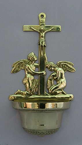 A beautiful Crucifixion with angels font in shiny brass, 12.25 inches. Made in Italy by GSV001