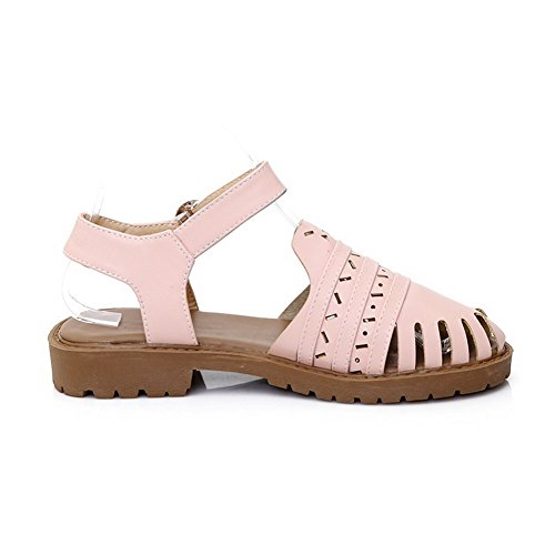AllhqFashion Womens Buckle Closed Toe Low-Heels PU Solid Sandals Pink bHE4L