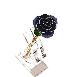 YSBER 24k Gold Real Rose Flower Eternal Golden Plated Rose with Clear Display Stand in Gift Box Best Romantic Loving Gift for Wife,Girlfriend,Birthday,Mother's Day,Wedding Anniversary 78