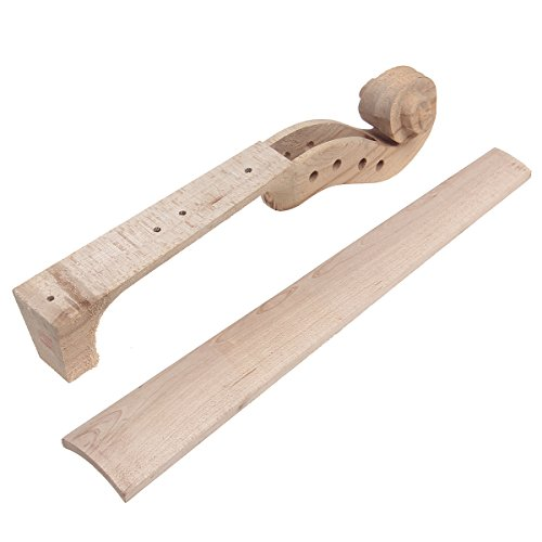 Hand Carved Maple 4 string 4/4 Violin Parts Violin Neck And Fingerboard Unfinished by Kmise