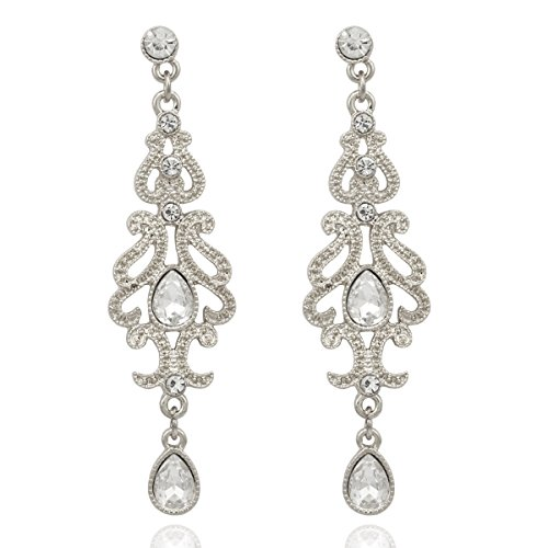 Q&Q Fashion Art Deco 1920s 30s Accessory Flapper Costume Austria Crystal Bridal Silver Dangle Earrings]()
