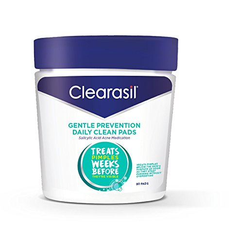 Acne Treatment Facial Cleansing Pads- Clearasil Gentle Prevention Daily Clean Pads with Salicylic Acid Acne Medication, 90 Count