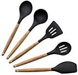 Cooking Utensils by Hearth and Home Goods, Add Functionality To Your Kitchen With Our 5-piece Durable, Heat-Resistant Tool Set. Beautifully Crafted With Dark Gray Silicone and Beech Wood Handles
