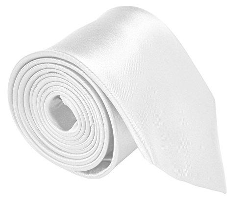 [Moda Di Raza - Mens Tie Fashion Necktie 3.5 inches Satin Finish - White] (Satin Mens Necktie)