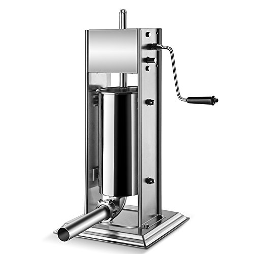 Flexzion Sausage Stuffer Maker Grinder Filler - (5L) 15 Lb Vertical Stainless Steel Two Speed Homemade & Commercial Grade Hand Crank Meat Press Machine Equipment with 4 Stuffing Tube Attachment