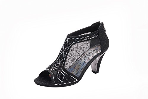 Ashley A Collection Women's Lexie Crystal Dress Heels Low Heels Wedding Shoes A-KIMI-26 BLACK8