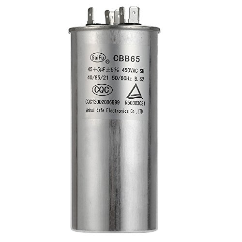 45 + 5 MFD uF CBB65 Round Aluminum Electrolyte Dual Capacitor Air Conditioner Capacitor Heat Pump Capacitor Motor Run Capacitor Withstand 450V AC for Fast Repairing Air Conditioning Run Capacitor
