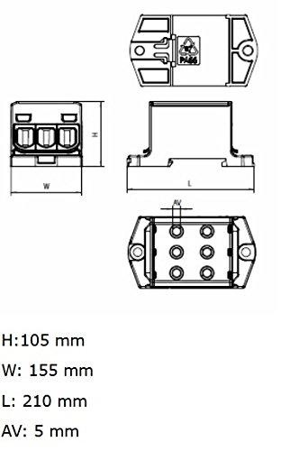 1000V AC//DC Klemme isoliert OTL 50-3 MAA3050A10 Morek 4283 Al//Cu geeignet 6x1,5-50mm2 grau 1pol Verteilerblock f