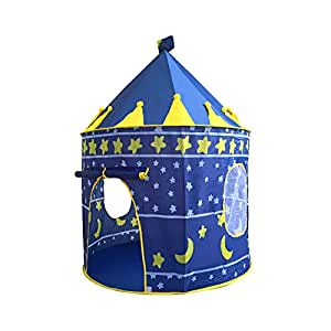 Bloodyrippa Prince and Princess Castle Play Tent, Indoor and Outdoor Kids Playhouse, Foldable Pop Up Tent with Carry Case, Perfect for Boys, Girls, Toddler, Blue