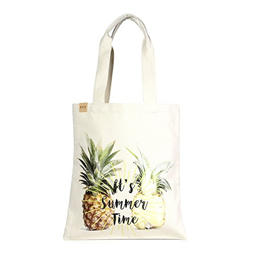 Me Plus Eco Cotton Canvas Stylish Printed Fashion Shopping and Travel Tote Bag (Pineapple-2 (Summer (Summer Fashion Gift)