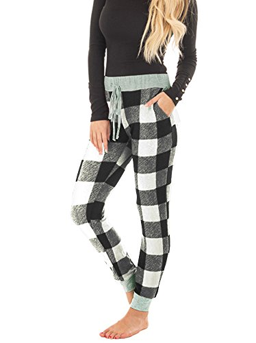 - Huiyuzhi Womens Burgundy Plaid Pajama Jogger Pant with Heather Grey Contrast (M, Black)