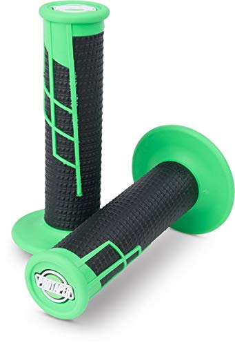 (ProTaper Neon Green/Black Clamp-On Half-Waffle Grips Pair for Most 2-Stroke and 4-Stroke Motocross Models 021658)
