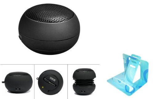 Universal Mini Portable Music Speaker Rechargeable Pop Up Hamburger Capsule Design for AT&T LG Thrive / Phoenix (Comes with Universal Phone Stand) by PHONIL