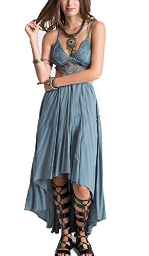 Sommerkleider Damen Elegant Maxikleid Trägertop Lange Kleider Blau ...