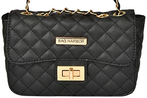 with Stitching Leather Harbor Black Faux Diamond Body Bag Sag Casual Pattern Cross n0H1v6wqw