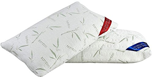 Lux Decor Collection Gusseted Quilted Bed Pillow - Set of 2 Premium Quality Bed Pillows for Side and Back Sleepers (Queen, White Bamboo)