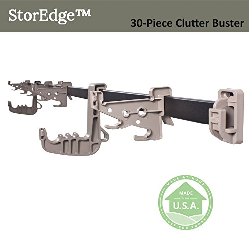 StorEdge 30-Piece Clutter Buster Storage Solution with Super-Duty Track and 24 High Density Organizing Hooks - Clear Space in the Garage, Shed, Workshop and Basement by Vertex (Image #5)