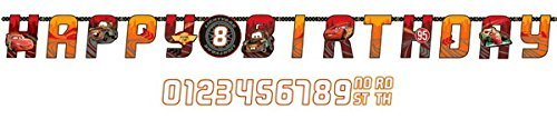 Disney Cars Kids Birthday Party Jumbo Add An Age Letter Banner 10 Ft. (1ct) -