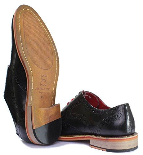 6 homme chaussures mat Justin Reece Black pour cuir en D200 PN12 wqfTxt
