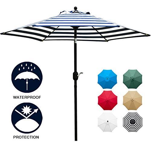 Sunnyglade 7.5' Patio Umbrella Outdoor Table Market Umbrella with Push Button Tilt/Crank, 6 Ribs (Blue and White) (Umbrellas Depot Patio At Home)