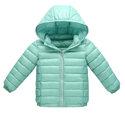 Baby Girl Boy Kid Lightweight Down Jacket Coat Autumn Winter Warm Children Clothes Toddler Infant Outfits Gifts Bluey-Green Size 90cm